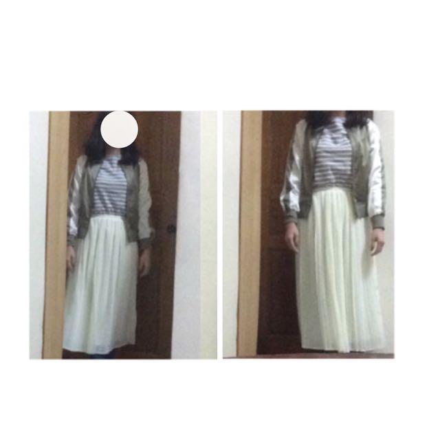 Queenshop白色百褶雪紡裙