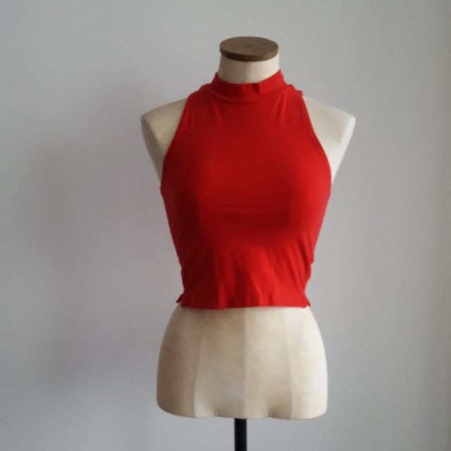 Red Mock Neck Crop Top