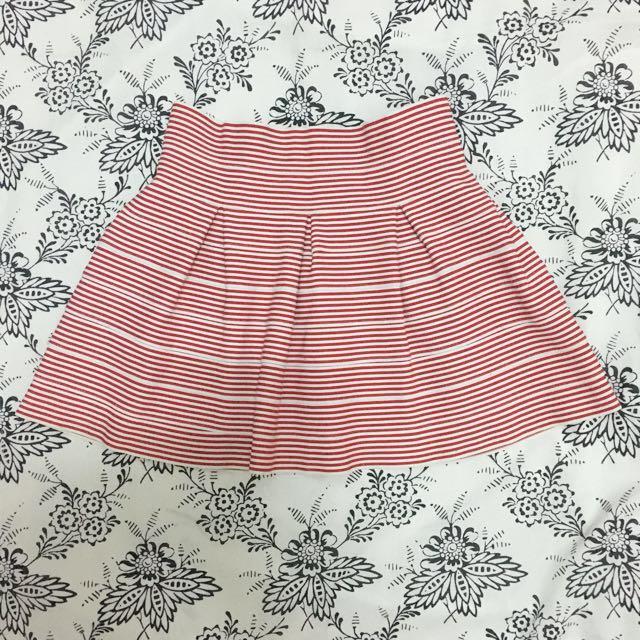 Red Striped Bandage Flare Skirt