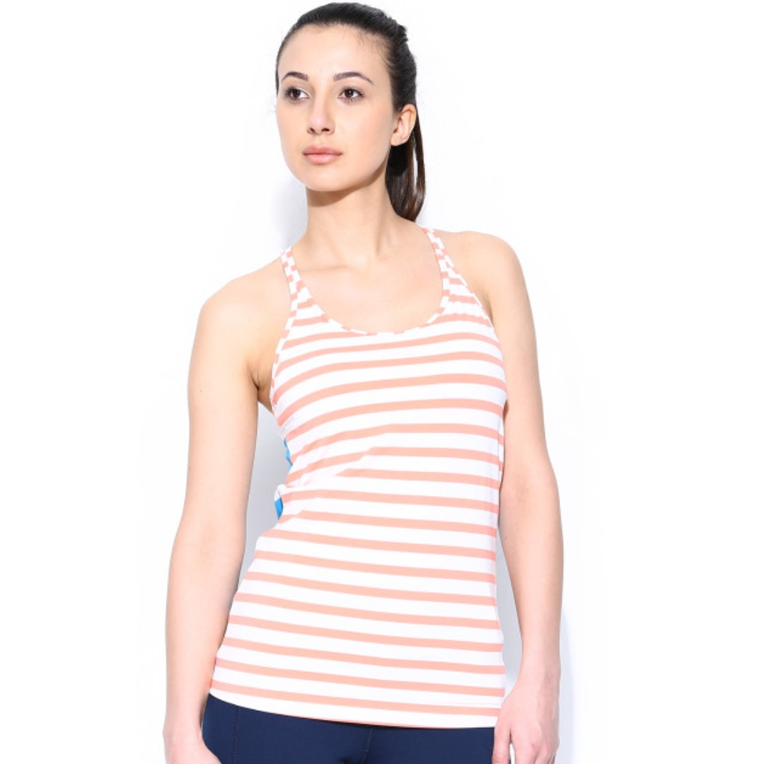 Reebok Striped Knitted Exercise Racerback Tank Top Sz XS