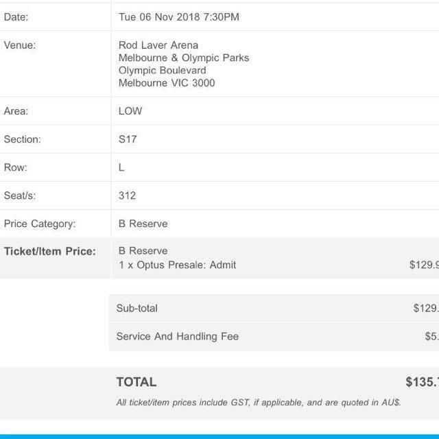 Sam Smith Concert Ticket (RESERVED)