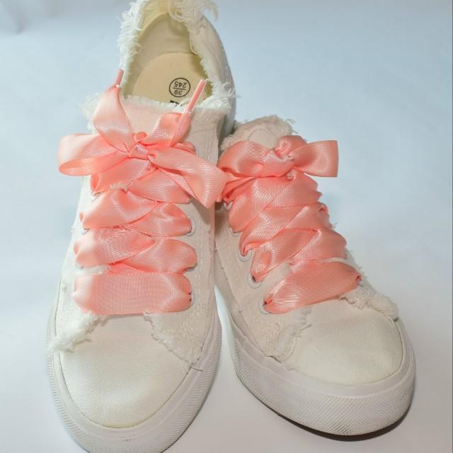 Satin shoe lace Coral, Women's Fashion