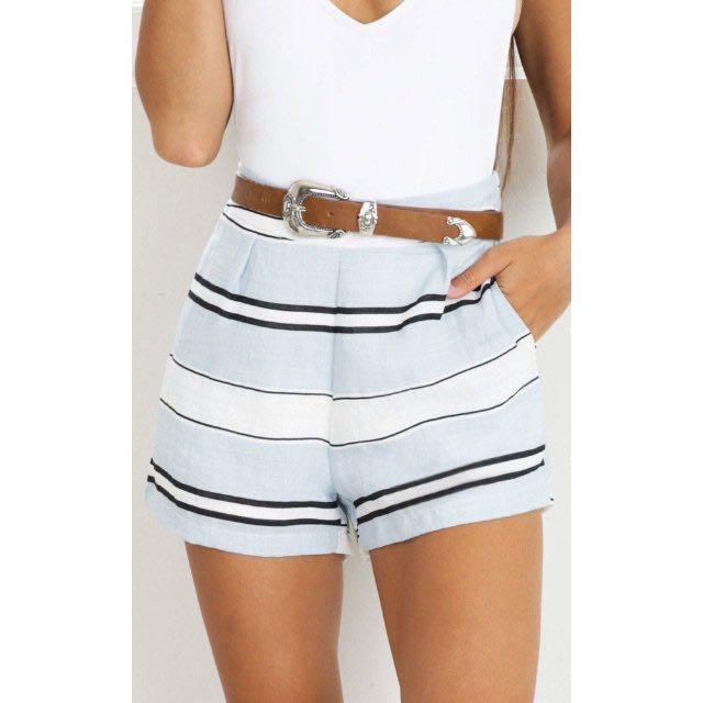Show Blue Striped Shorts