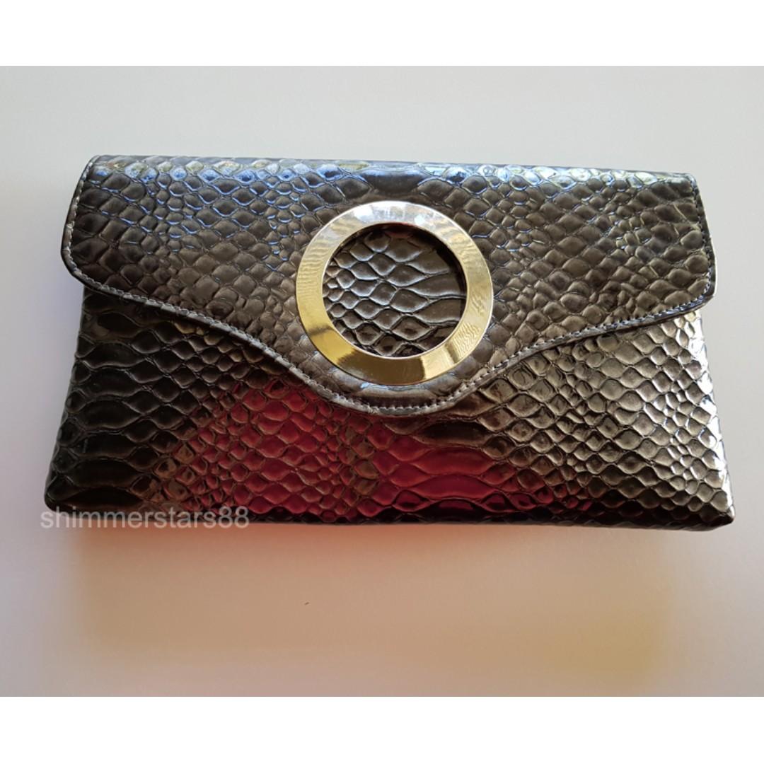 Snakeskin Patent Clutch Bag