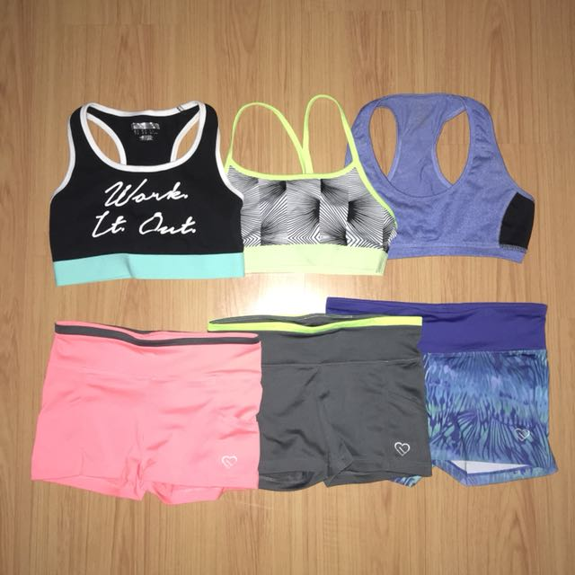 Sports bra and spandex shorts