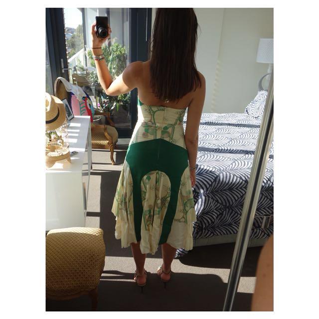 Stunning Georgiadis Halterneck Dress - Green & Cream