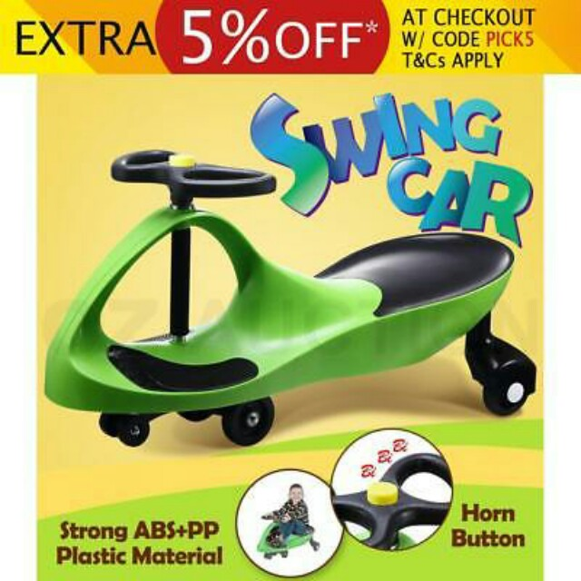 SWING CAR Swivel Slider Kids Ride On Toys Wiggle Scooter Safe Speed green
