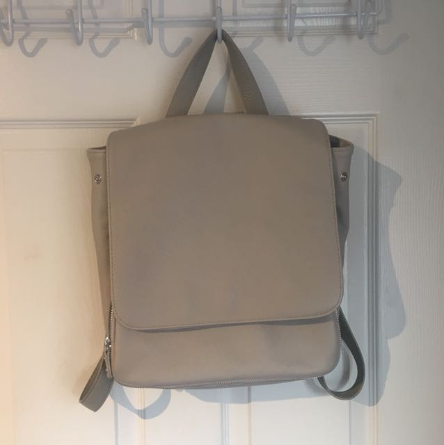 Topshop grey leather backpack