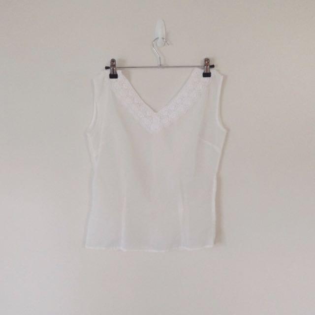 True Vintage White Sheer Blouse