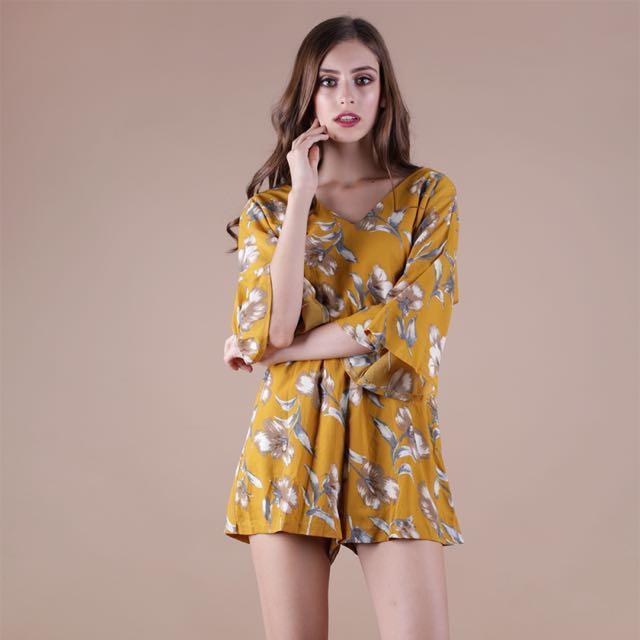 d40ed800a926 TTR Calla Floral Romper (in Mustard)