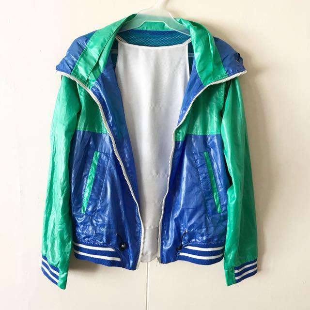 Two Toned Hooded Track Jacket / Windbreaker
