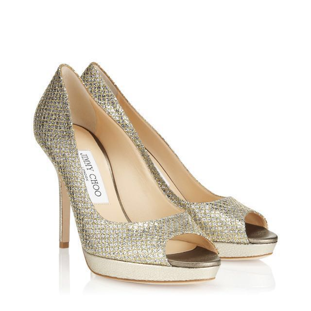 Weekend Sale! Authentic Jimmy Choo Gold Peep Toe With Suede soles