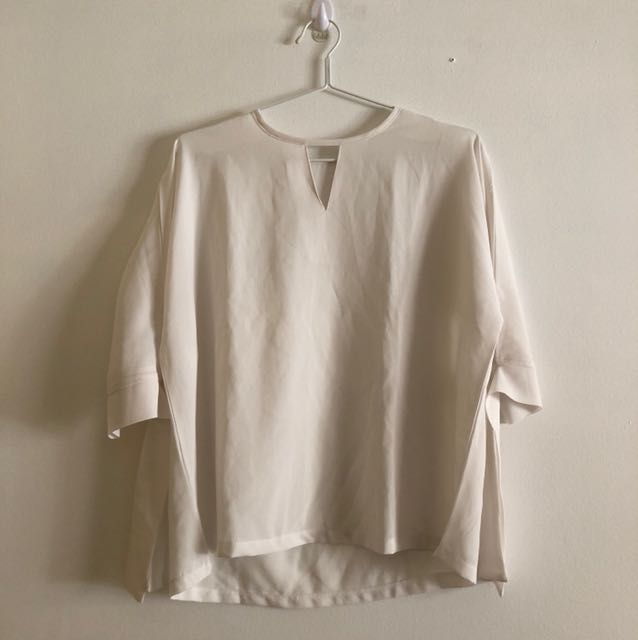 White see through 3/4 sleeved shirt with tie up sleeve detailing