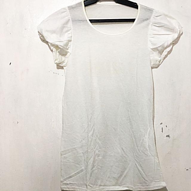 White Ruffle Sleeves Blouse
