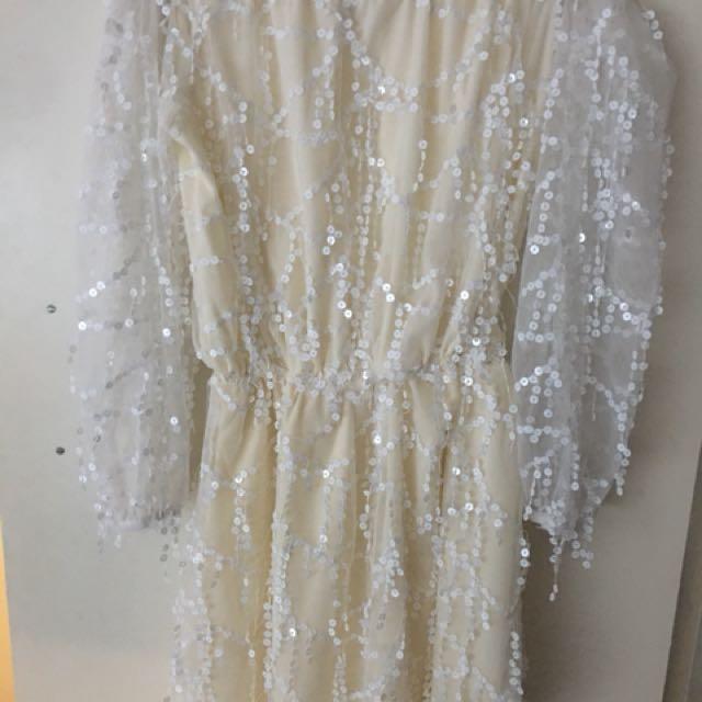 White/Cream Off-Shoulder Sequin Dress Size Medium