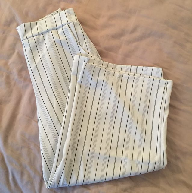 Wide pants size s/m white with stripes