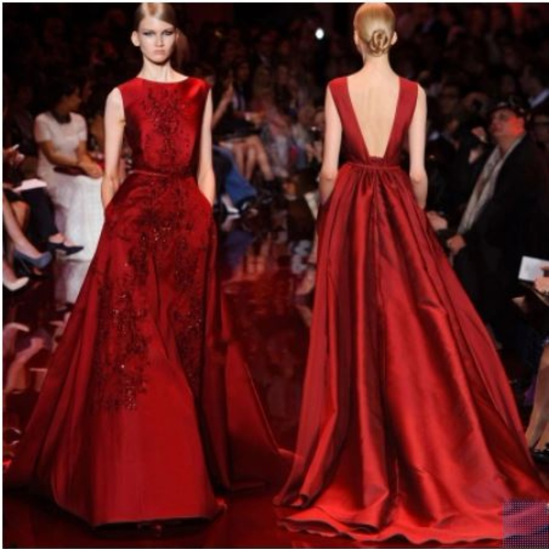 Wine red Paragraph alignment evening gown, Women\'s Fashion, Clothes ...