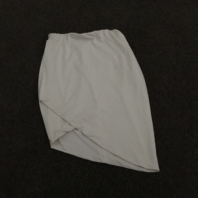 ZACHARY the label White Bodycon Asymmetric Fitted Skirt Small