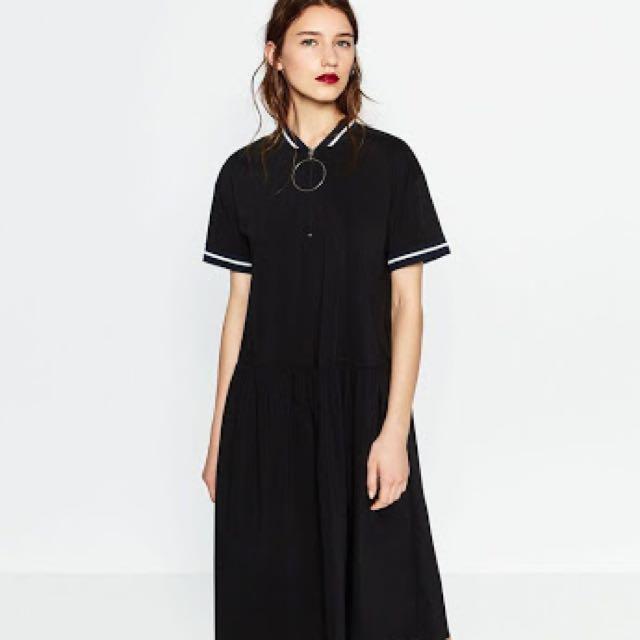 Zara blue dress with big round metal zipper