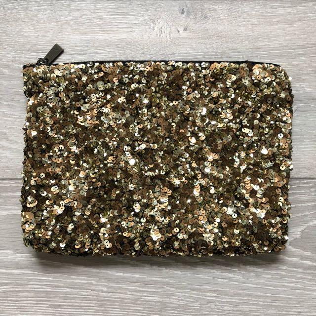Zara Gold Sequin Clutch