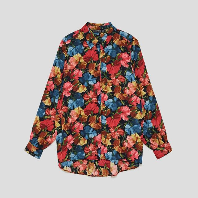 [PRICE REDUCED] ZARA Printed Blouse with Shoulder Pads