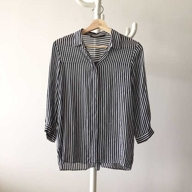 ZARA striped blouse made in morocco