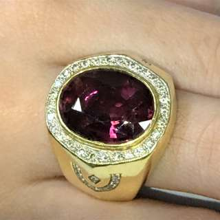 Rubellite with Diamond Mounted on 18K gold