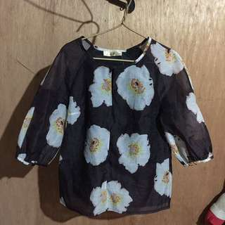 Black Floral Barong Blouse