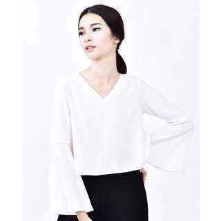 Dara Women Aida Bell Sleeves Top - White