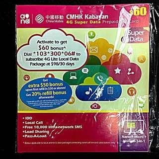 中國移動 CMHK Kabayan 4G Super Data 一個月無限上網