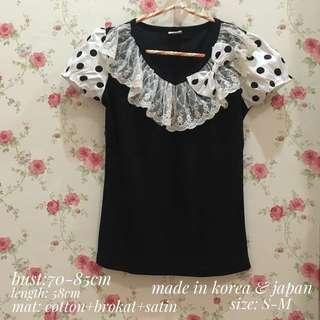 blouse polkadot korea japan