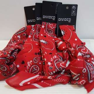 Authentic H&M Red printed Bandana/Scarf bought in Japan complete with price tag