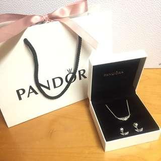 Pandora fairytale tiara earrings & necklace 耳環頸鏈set 情人節禮物