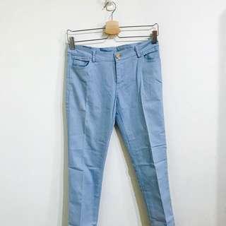 🚚 藍色低腰緊身九分褲