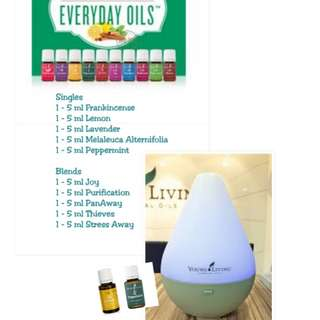 Young Living Everyday Oils and Dewdrop Diffuser
