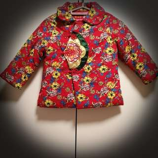 Girl's Chinese style padded red jacket
