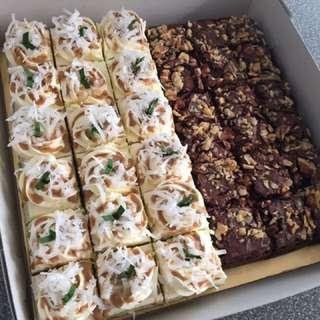 Combo pandan gula melaka cake & walnut brownies