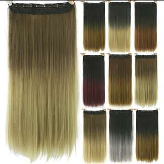 PO ombre gradient dip dye two tone straight clip on hair extension *Waiting time 10 days after payment is made *pm to order