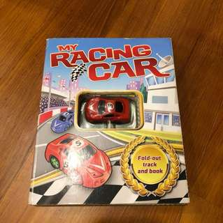 Racing car book with car and fold out track