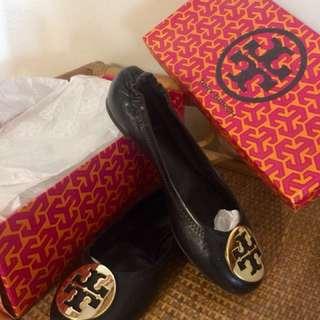 100% Authentic Tory Burch Classic Reva Black/Gold Ballet Flats