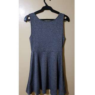 H&M Gray Casual Dress w/ Deep V Cut Back