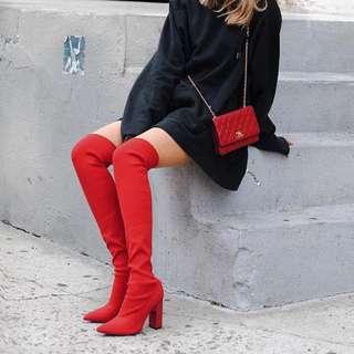 Bnwt Zara Over Knee Elastic Boots