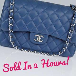 💕SOLD BEFORE POSTING!💕 Excellent Condition Chanel Jumbo Flap Blue Lambskin and SHW
