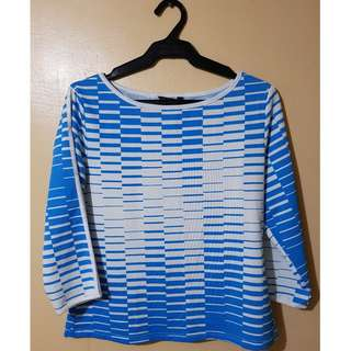 Comfy Blue and White Long Sleeves Top