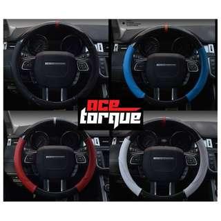 NEW Coloured Leather + Carbon Fiber Sports Steering Wheel Cover!