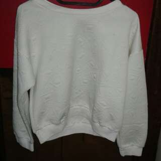 Sweater white bahan bebyterry