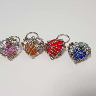 Wired art handmade keyring - heart