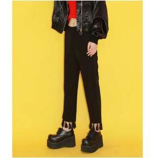 🚚 【黑店】獨家設計 訂製款 中國風寬鬆高腰手工流蘇九分褲 寬褲休閒褲