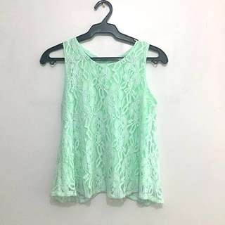 Neon Seafoam Green Lace Floral Top