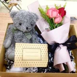Teddy Bear + Fresh Flower Bouquet with Gift Box
